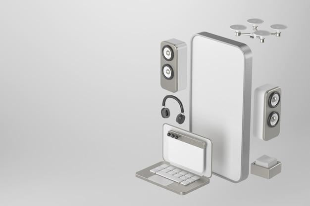 スマートフォンとスピーカーの3dレンダリング。