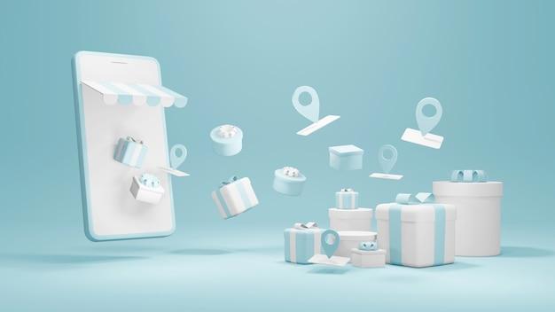 3d-рендеринг смартфона с подарочными коробками и символами службы определения местоположения для коммерческого дизайна