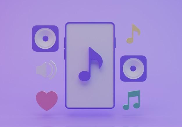 3d-рендеринг смартфонов и музыкальных иконок