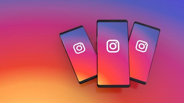 화면에 instagram 로고가있는 스마트 폰의 3d 렌더링