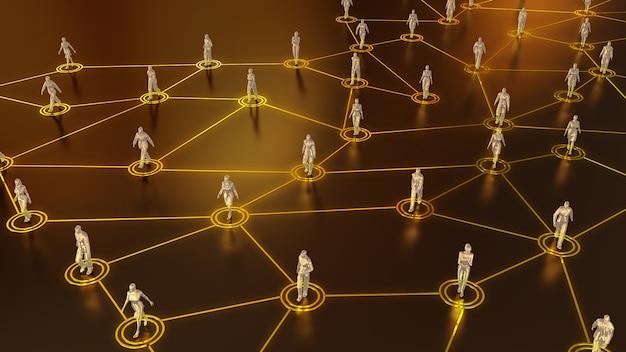 네트워크 내 소셜 연결의 3d 렌더링