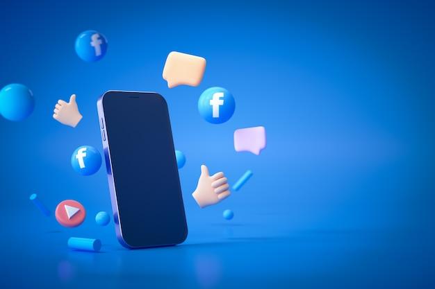 青のスマートフォンでソーシャルメディアのfacebookロゴと絵文字反応の3dレンダリング