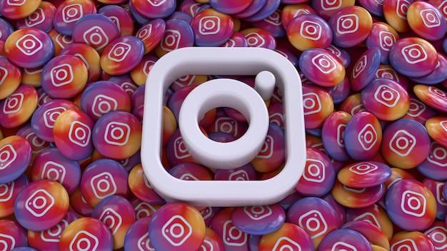 3d-рендеринг логотипа социальных сетей над множеством глянцевых таблеток instagram
