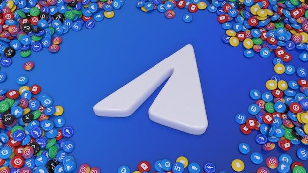 3d-рендеринг логотипа социальных сетей в окружении множества самых популярных глянцевых таблеток социальных сетей на синем фоне
