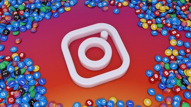 カラフルな背景の上に最も人気のあるソーシャルネットワークの光沢のある錠剤の多くに囲まれたソーシャルメディアのロゴの3dレンダリング