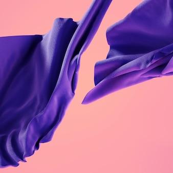 산호 핑크에 부드러운 천으로 보라색 소재의 3d 렌더링