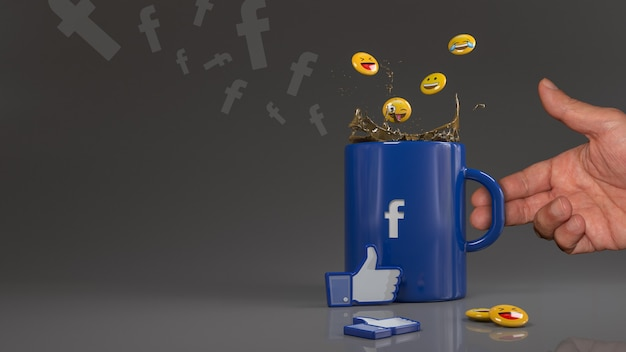 3d-рендеринг некоторых смайликов, падающих в синюю кружку с логотипом facebook перед значком лайка.