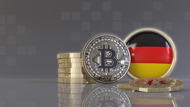 3d-рендеринг некоторых металлических биткойнов перед значком с немецким флагом