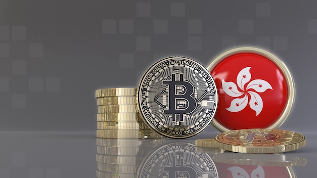 香港の旗が付いたバッジの前にあるいくつかの金属ビットコインの3dレンダリング