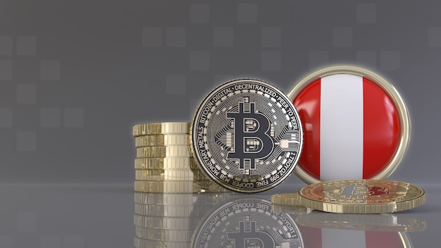 ペルーの旗が付いているバッジの前のいくつかの金属ビットコインの3dレンダリング