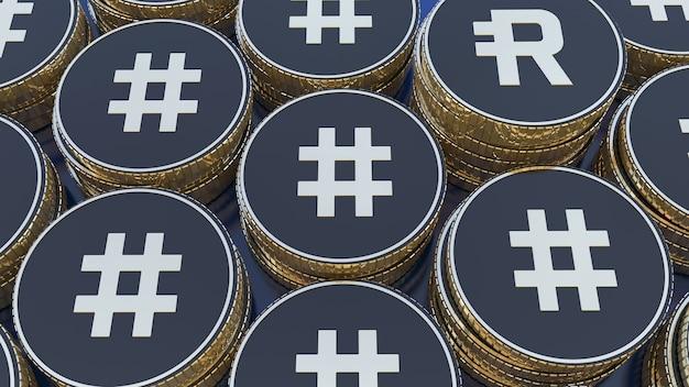 3d-рендеринг некоторых куч металлических золотых и черных монет с символом rsr и rsv жетона резервных прав крупным планом