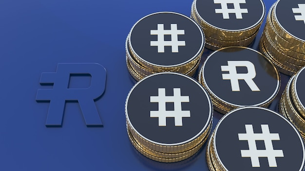 3d-рендеринг нескольких куч металлических золотых и черных монет с символом rsr и rsv жетона резервных прав на синем фоне