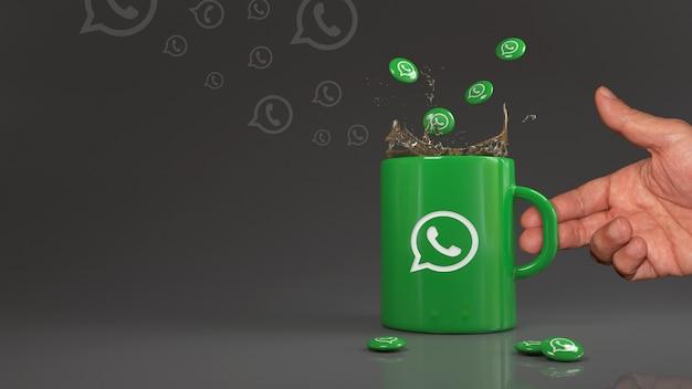 3d-рендеринг некоторых таблеток whatsapp, падающих в зеленую кружку с логотипом этой социальной сети