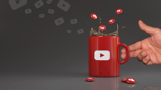3d-рендеринг некоторых таблеток youtube, падающих в красную кружку с логотипом этой социальной сети