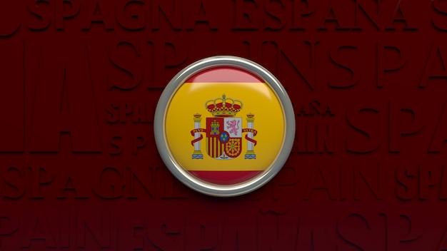 スペインの国旗の3dレンダリング