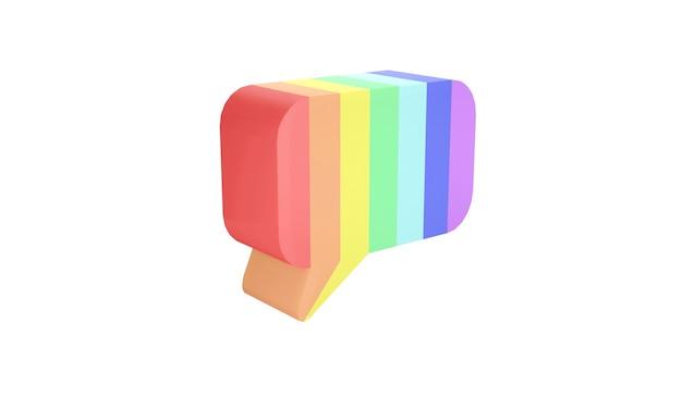 배경 lgbtq 의견 음성 및 올바른 개념에 무지개 색상의 말풍선의 3d 렌더링