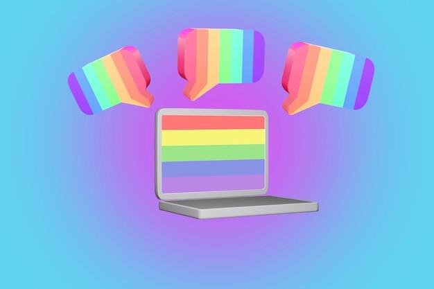 무지개 색 lgbtq 의견 음성 및 올바른 개념으로 인터넷에서 말풍선의 3d 렌더링
