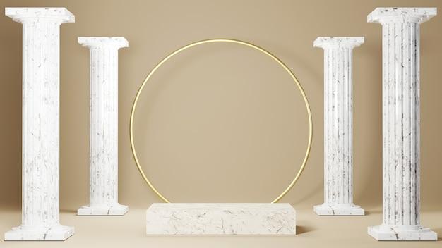 정사각형 대리석 주각과 그리스 기둥 배경의 3d 렌더링. 쇼 제품에 대한 모형.
