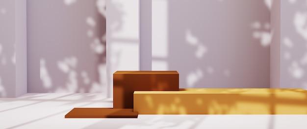 갈색 제품 배경을 표시하기 위한 정사각형 연단의 3d 렌더링. 쇼 제품에 대한 모형.