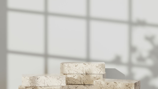 제품 배경을 표시하기 위한 대리석 패턴이 있는 정사각형 연단의 3d 렌더링. 쇼 제품에 대한 모형.