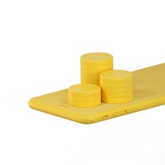 노란색 휴대 전화에 동전 더미의 3d 렌더링