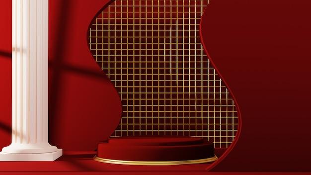 무대 빨간색 배경의 3d 렌더링입니다. 제품 프레젠테이션 빈 연단입니다.