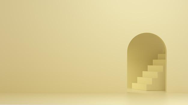 3d визуализация лестницы внутри дуги. минимальная иллюстрация для размещения продукта или брендинга