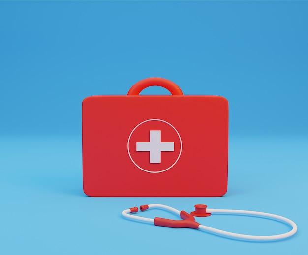 3d-рендеринг стетоскопа и аптечки на синем фоне
