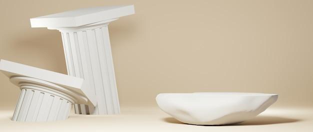 스톤 연단과 그리스 기둥 배경의 3d 렌더링. 쇼 제품에 대한 모형.