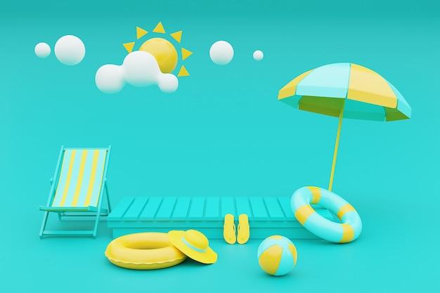 3d-рендеринг концепции летних каникул с пляжным креслом, зонтиком и летними элементами. 3d-рендеринг.
