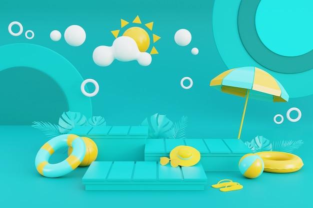 3d-рендеринг концепции летних каникул с отображением продукта и летними элементами. 3d-рендеринг.