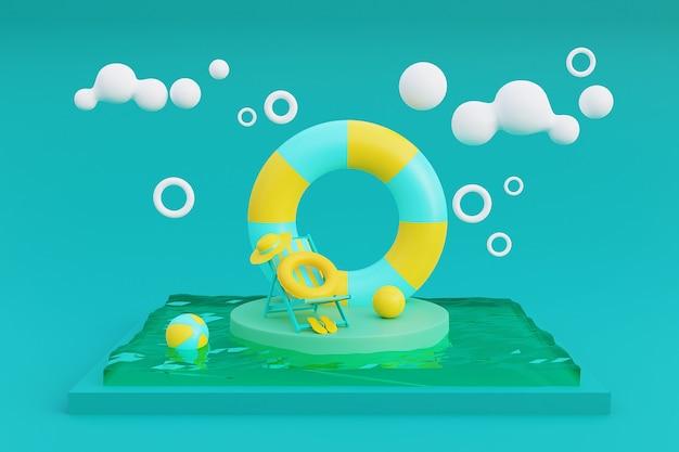 3d-рендеринг концепции летних каникул с плавающим кольцом и летними элементами. 3d-рендеринг.
