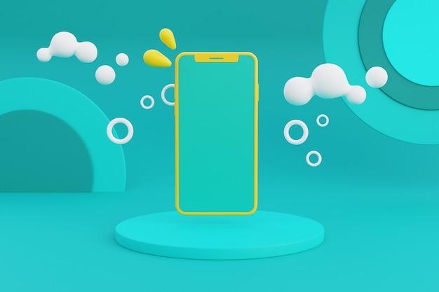 3d-рендеринг концепции летних каникул со смартфонами и летними элементами. 3d-рендеринг.