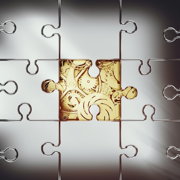 パズルで覆われた黄金のギアのシステムの3dレンダリング。システム間の協力の概念
