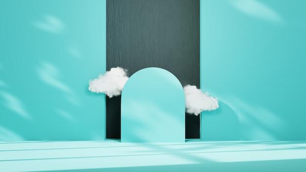 블루 룸의 3d 렌더링에는 제품 배경을 표시하기 위한 구름이 있습니다. 쇼 제품을 위해. 빈 장면 쇼케이스 모형.