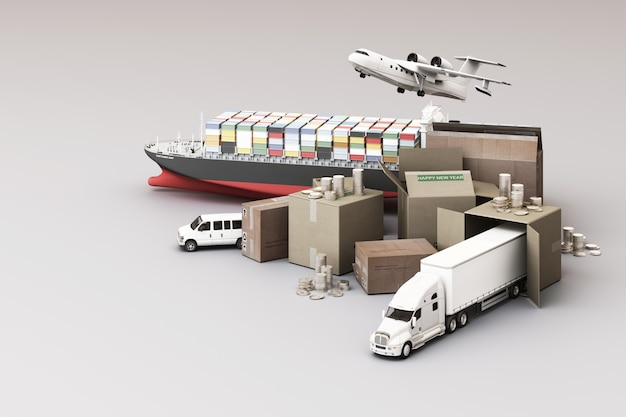 3d-рендеринг ящика с ящиками в окружении картонных коробок, грузового контейнеровоза, плана полета, автомобиля, фургона и грузовика