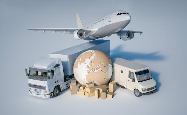 地球、箱の山、トラック、飛行機、バンの3dレンダリング