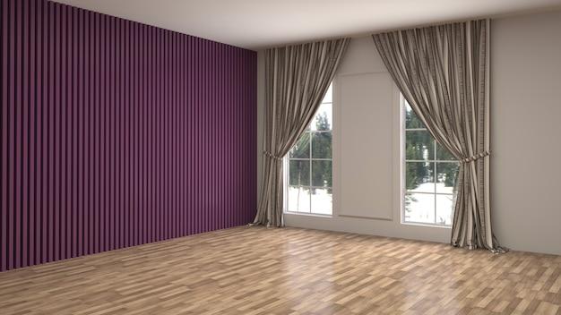 3d-рендеринг пустой внутренней комнаты
