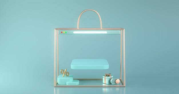 황금 가방 개요의 3d 렌더링입니다.