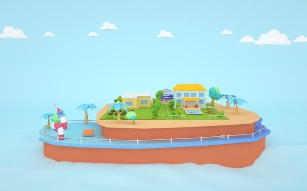 섬에 주택 그림의 3d 렌더링