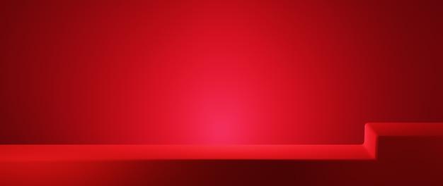 레드 룸 배경에 제품을 표시하기 위한 장면의 3d 렌더링. 쇼 제품을 위해. 빈 장면 쇼케이스 모형.