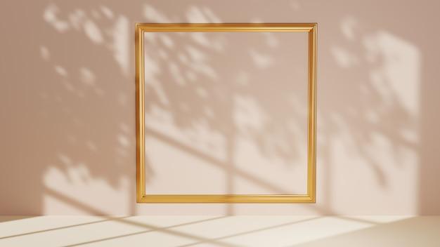 製品を展示するステージの3dレンダリングは、ゴールドのフレームとウィンドウシャドウの背景で装飾されています。ショー商品用。空白のシーンのショーケースのモックアップ。