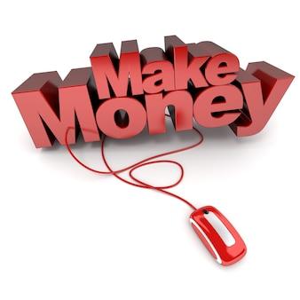 컴퓨터 마우스에 연결된 돈을 버는 단어의 3d 렌더링