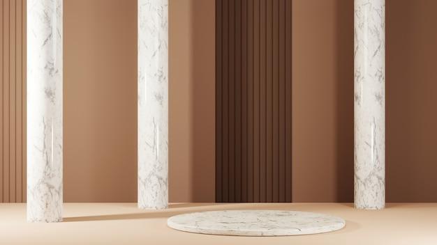 갈색 톤과 대리석 기둥 배경에 제품을 배치하기 위한 얇은 대리석 연단의 3d 렌더링. 쇼 제품에 대한 모형.