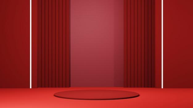 제품 배경을 표시하기 위한 얇은 빨간색 연단의 3d 렌더링. 쇼 제품에 대한 모형.