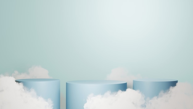 제품 및 구름 배경을 표시하기 위한 3개의 파란색 연단의 3d 렌더링. 쇼 제품에 대한 모형.