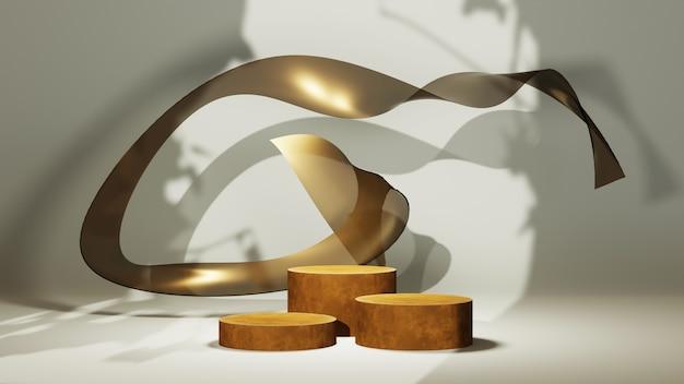흰색 방에 있는 세 개의 갈색 연단과 황금 천의 3d 렌더링은 나뭇잎 배경의 그림자입니다. 쇼 제품에 대한 모형.