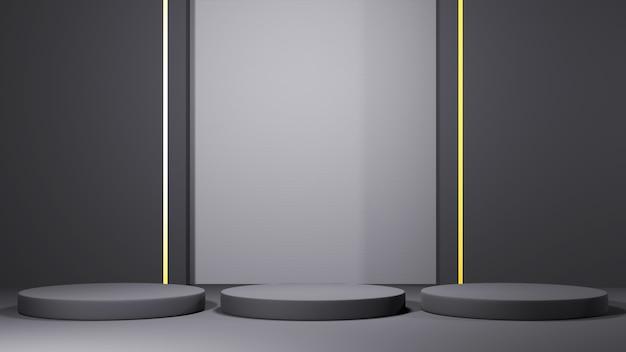 3d-рендеринг трех серых подиумов для демонстрации продуктов на фоне серой комнаты. мокап для выставочного продукта.