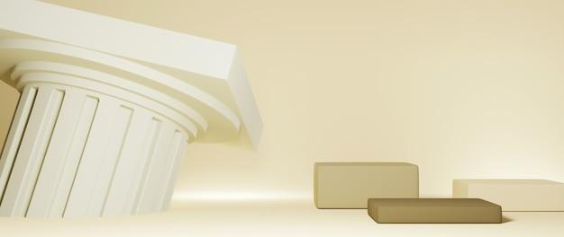 3개의 정사각형 연단과 그리스 기둥 배경의 3d 렌더링. 쇼 제품에 대한 모형.