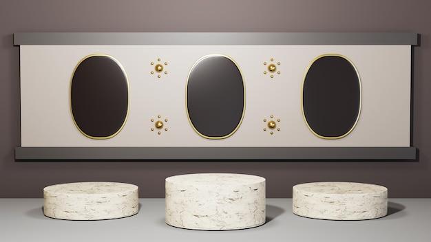 회색 방 배경에서 3개의 흰색 대리석 연단을 3d 렌더링합니다. 쇼 제품에 대한 모형.